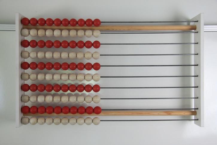 100er Lehrer-Rechenrahmen rot/weiß in Zehnerreihen