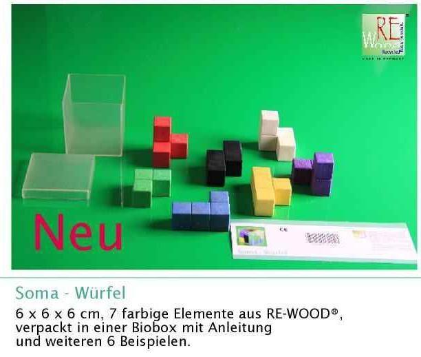 SOMA-Würfel, 6x6x6 cm aus RE-WOOD®