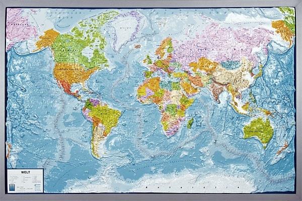 Reliefkarte Silverline, Welt, politisch, russisch, im Holzrahmen