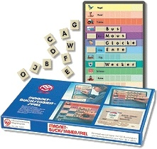 Buchstabierspiel, magnetisch, mit farbigen Wort-Bild Vorlagen