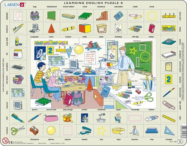 Puzzle - Learning English Puzzle 6, Format 36,5x28,5 cm, Teile 70