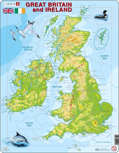 Puzzle - Great Britain and Ireland, english,  physisch