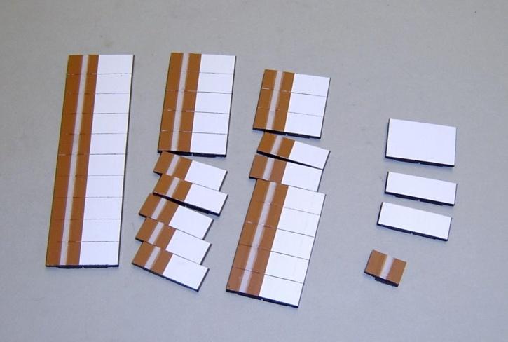 Satz Kippmagnete für Stundenplan, braun mit Streifen / weiß