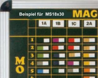 Kopfzeilenmagnet zur Kennzeichnung der Klasse 18x30mm, gelb mit weißem Streifen