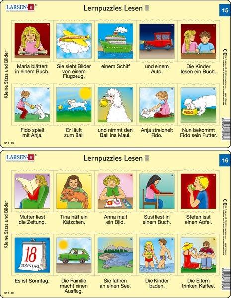 Puzzle - Lernpuzzles Lesen II (15 und 16) Format je Puzzle 28,5x