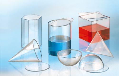 Geometriekörper Set, 6 Füllkörper aus Acrylglas
