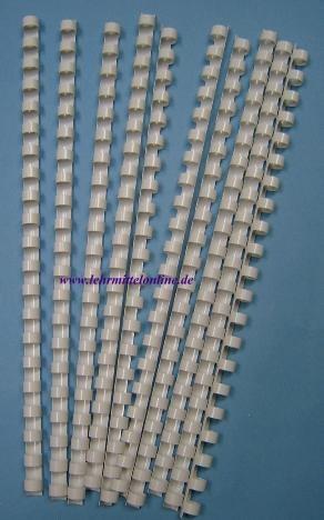 Plastik-Binderinge, 16mm Ø, Farbe weiß, (100 Stück) für 150 Blat