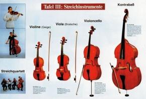 Lehrtafel zur Instrumentenkunde, Streichinstrumente