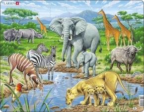 Puzzle - Tiere der Savanne, Format 36,5x28,5 cm, Teile 65