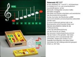Musiknotensatz in der Kunststoffbox, für 5 cm Orff Lineatur