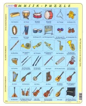 Puzzle - Musik-Instrumente,  Format 36,5x28,5 cm, Teile 48